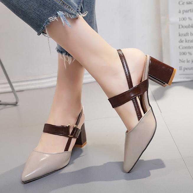 Giày cao gót cao 6cm da mềm - 3059 xám đậm