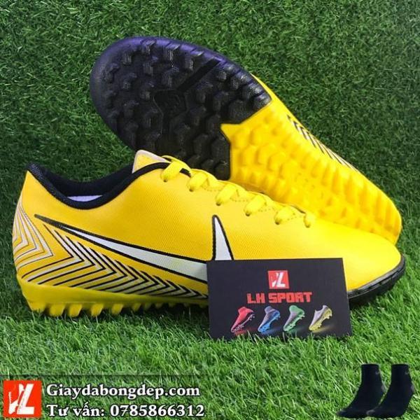 Giày đá bóng cỏ nhân tạo Mercuri Neymar vàng, giày đã khâu mũi, êm, nhẹ (Tặng kèm tất) Size từ 38 đến 44