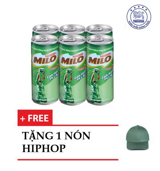 Lốc 6 Lon Nestlé MILO ® Uống Liền (6 lon x 240ml) - tặng 1 nón lưỡi trai Hiphop