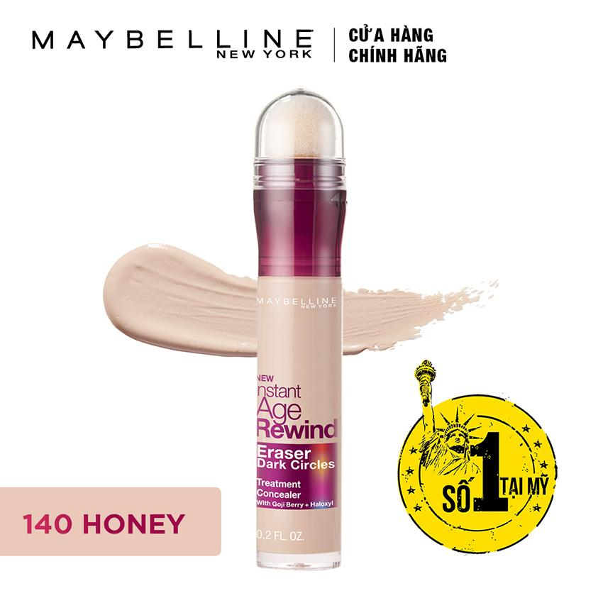 Bút cushion che khuyết điểm, giảm quầng thâm Maybelline Instant Age Rewind Concealer 140 Honey