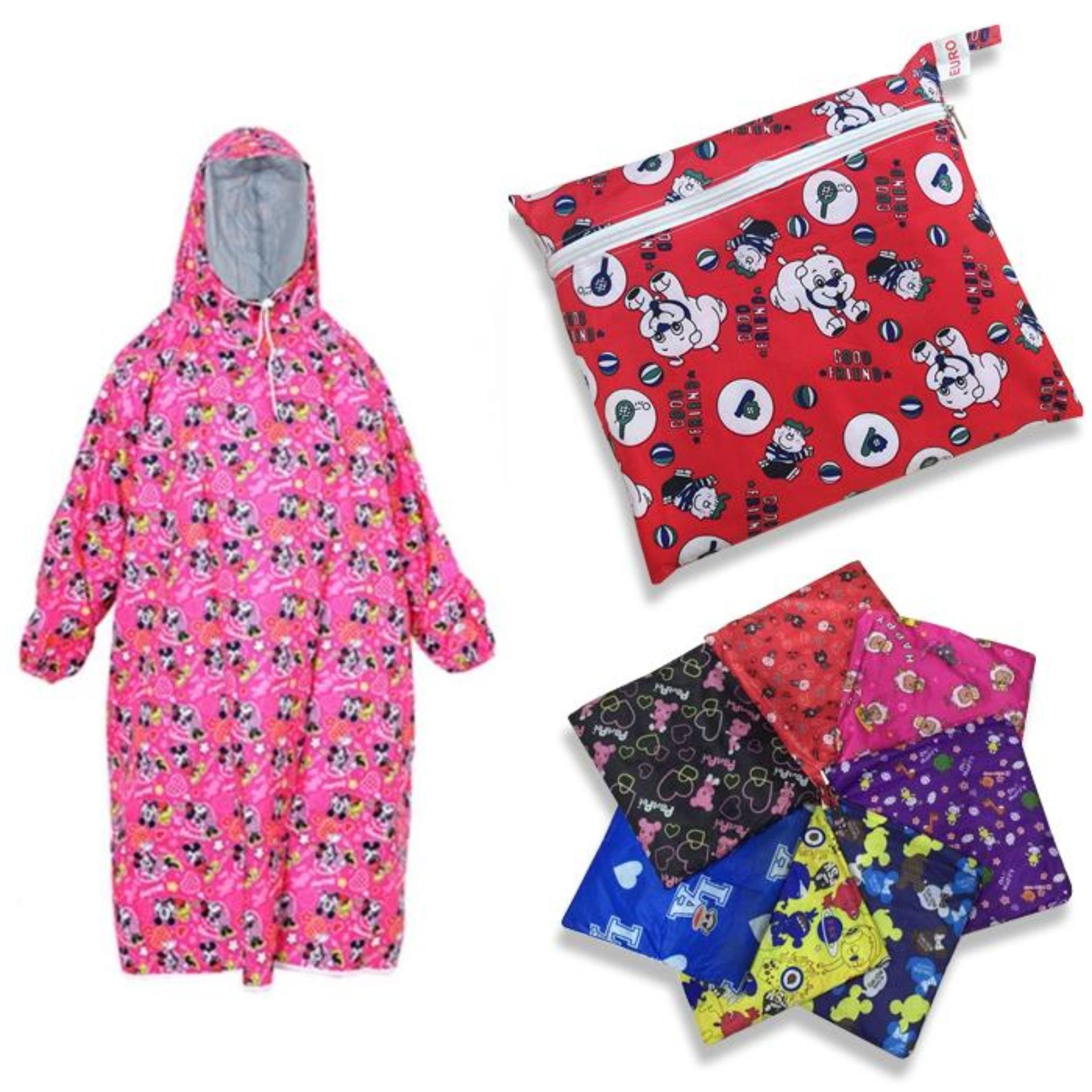 Áo Mưa Trẻ Em Vải Dù Bít 2 Bên Hoa Văn Nhiều Màu Size 9 ( từ 6 đến 11 tuổi )