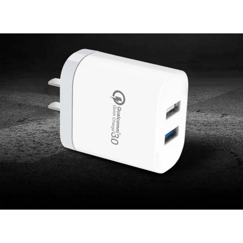 CỐC SẠC NHANH QUICK CHARGE 3.0 2 USB XO L18