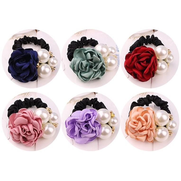 SET 4 Buộc tóc hoa hồng ngọc trai