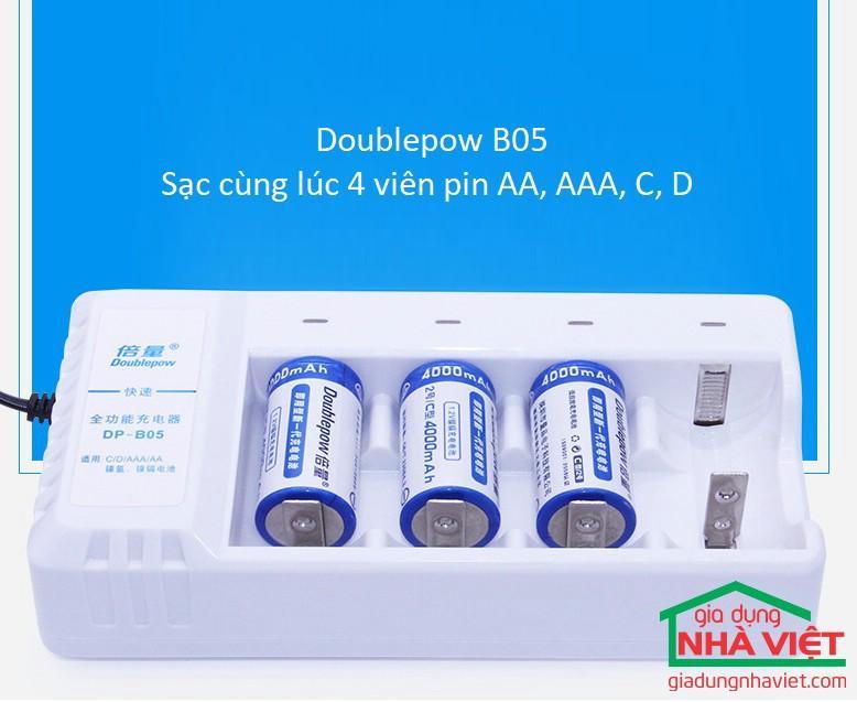 Sạc pin đa năng 4 viên DOUBLEPOW DP-B05 (Sạc 4 pin đại D, pin trung C, pin tiểu AA, pin đũa AAA)