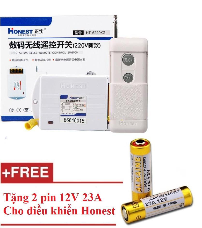 Công tắc điều khiển từ xa công suất lớn Honest HT-6220KGD + Tặng 2 pin 12V 23A dùng cho điều khiển honest
