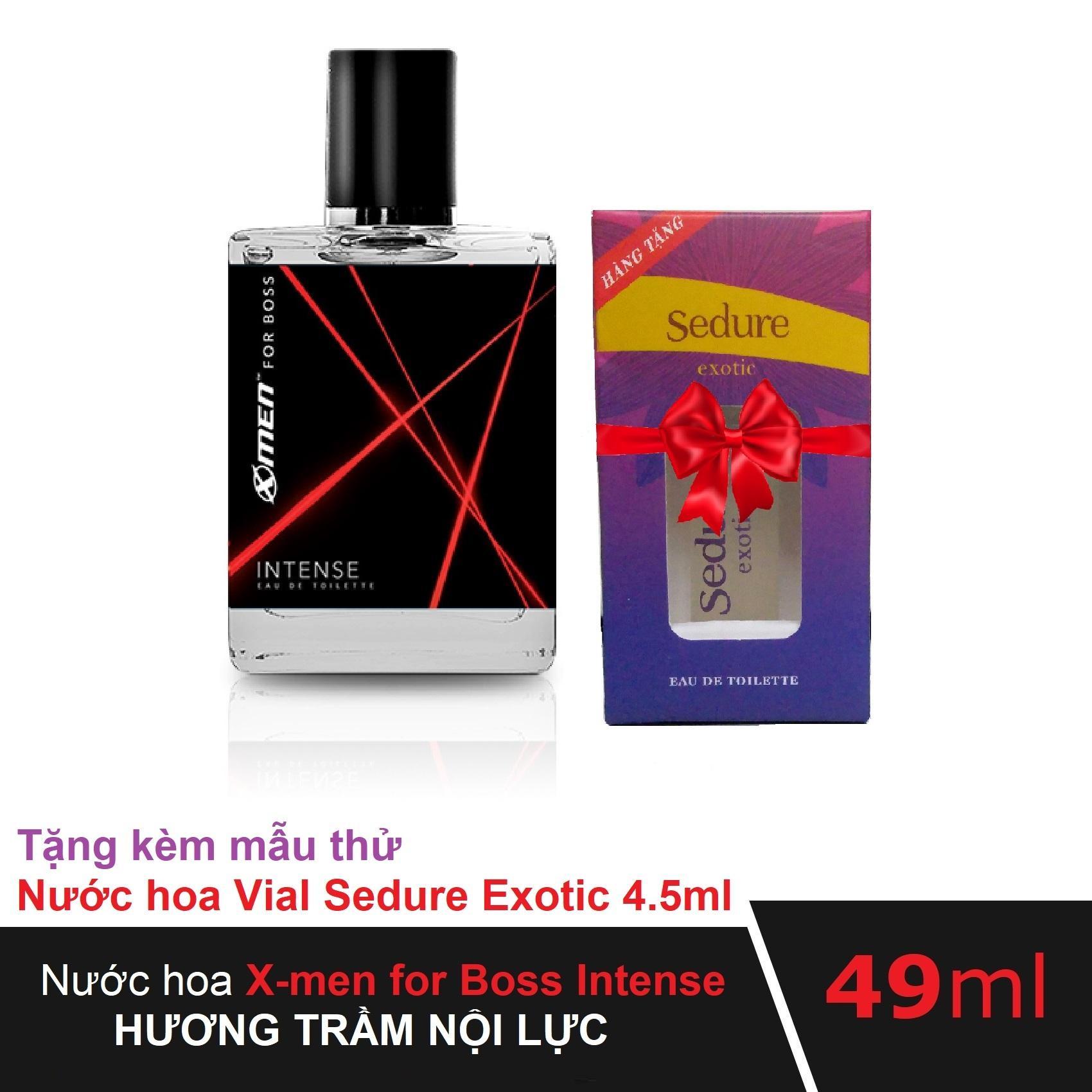 Nước hoa Xmen for Boss Intense 49ml tặng kèm Nước hoa Vial Nữ Sedure Exotic 4.5ml hương thơm hòa hợp cho cặp đôi