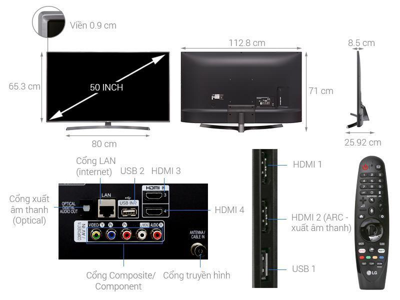 Bảng giá Smart Tivi LG 4K 50 inch 50UK6540PTD Mới 2018