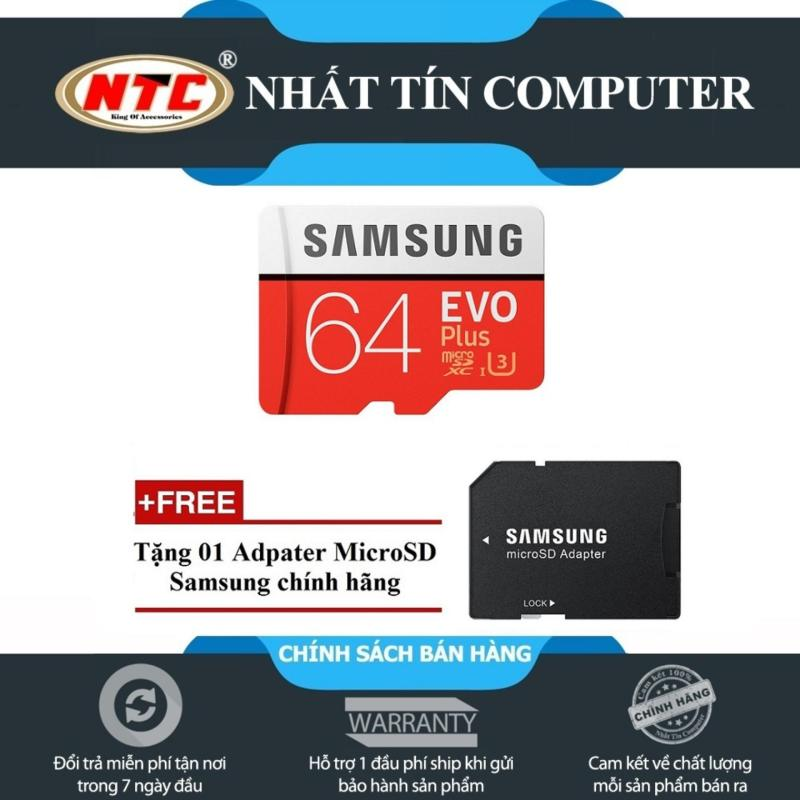 Thẻ nhớ MicroSDXC Samsung Evo Plus 64GB UHS-I U3 100MB/s - Model 2017 (Đỏ) + Tặng MicroSD Adapter Samsung