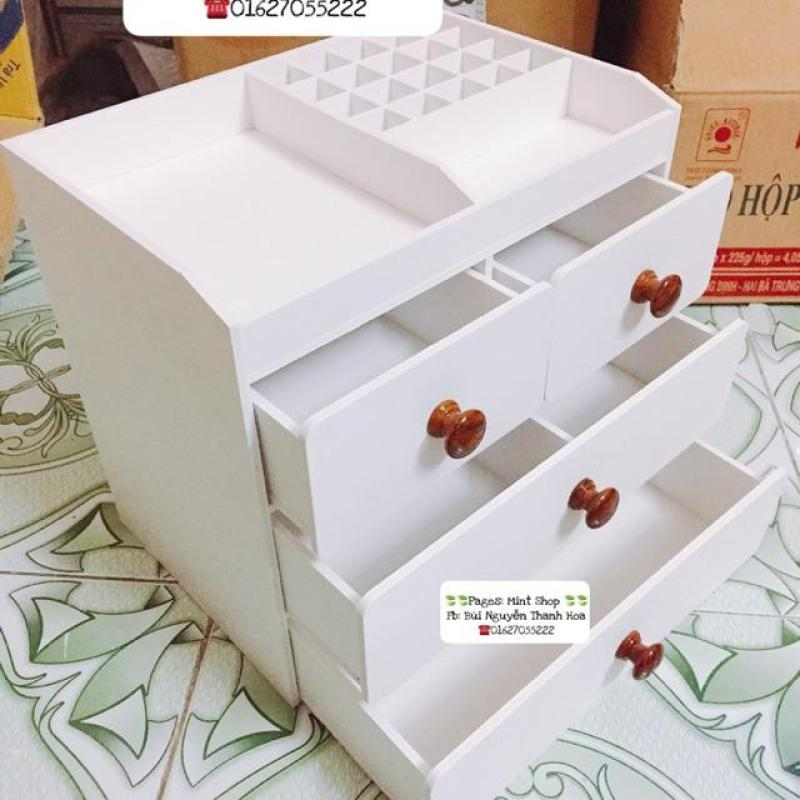 Tủ đựng mỹ phẩm 4 tầng núm gỗ, khay son, kệ trang điểm.