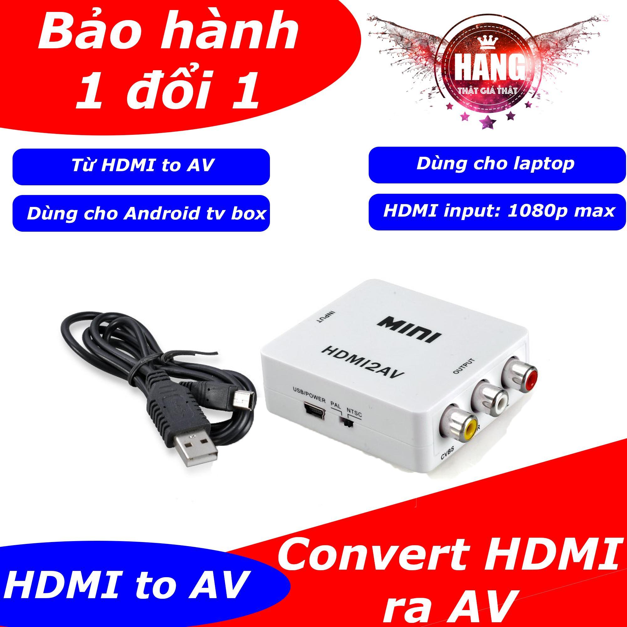 Hình ảnh Hộp chuyển tín hiệu HDMI to AV có chip chuyển cho Android box ra tivi cổng hoa sen (Trắng)