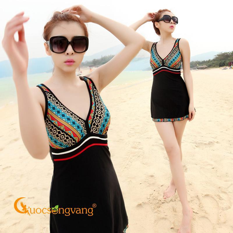 Nơi bán Váy đầm bơi liền thân váy đi biển liền quần bigsize màu họa tiết GLSWIM024
