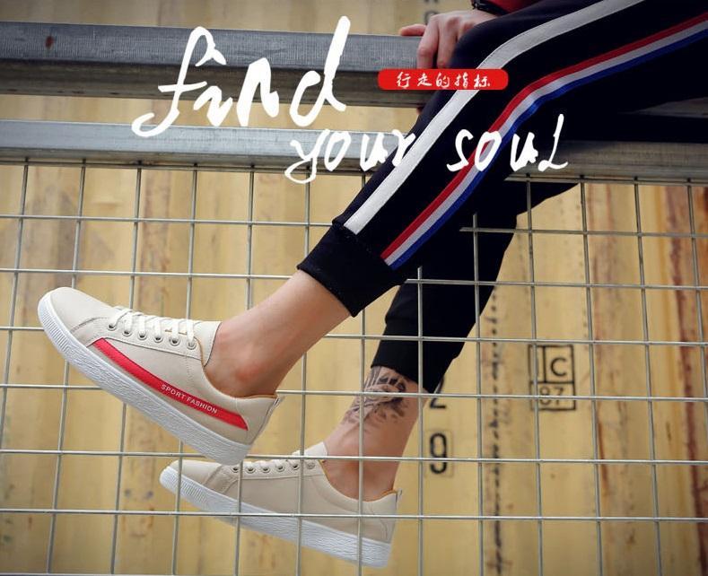✅ GIẦY SNEAKER DA Kẻ SPORT FASHION ( TRẮNG SỮA - ĐỎ ) - HOT TREND Giày thể thao/Giày nam phong cách Korea, dễ kết hợp, mẫu mới nhất ( NEW ARRIVAL ) - MANTO SIMPLE LUXURY
