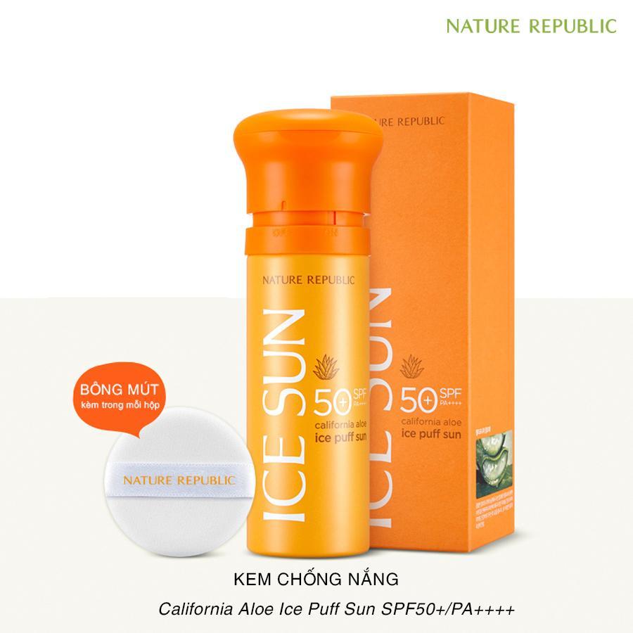 Kem Chống Nắng Ice Sun Nature Republic SPF 50 PA+++ mẫu mới màu cam