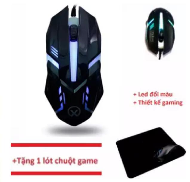 Hình ảnh Chuột chơi game có dây Đèn Led Mouse gaming SCH-CM28 (Đen) + Tặng 1 miếng lót chuột