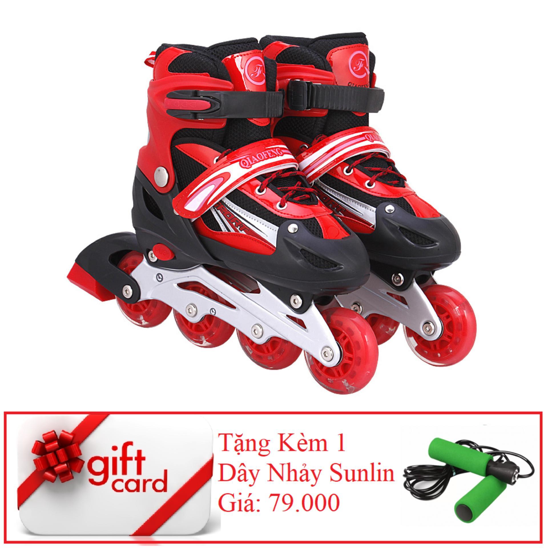 Giày Trượt Patin Gắn Đinh Phát Sáng Cao Cấp (Size L - Đỏ Đen) - TiGi Mall - Tặng Kèm 1 Dây Nhảy