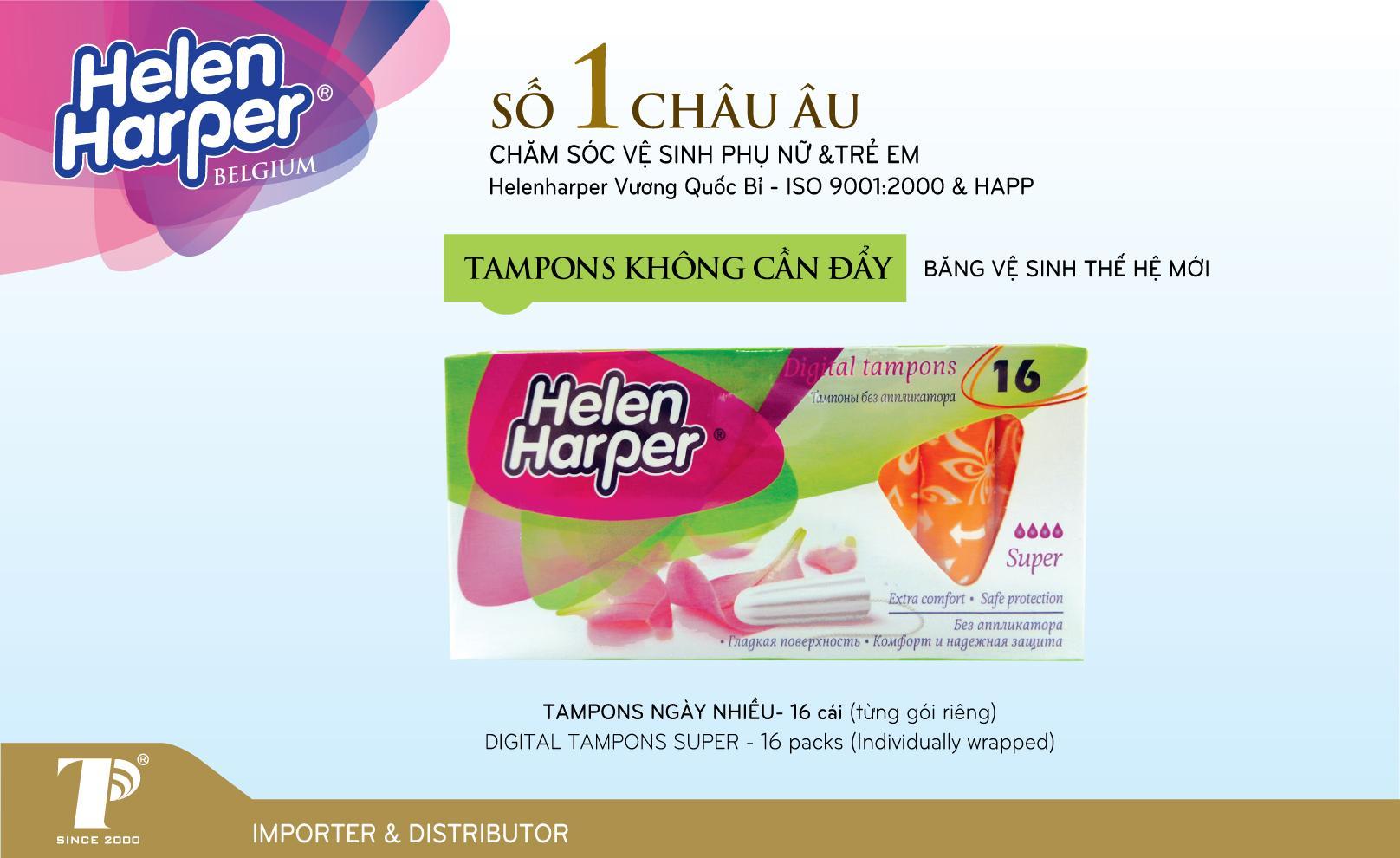 Combo 2 Hộp Băng Vệ Sinh Tampon- Super Helen Harper Thương hiệu độc quyền ( Xuất Xứ Bỉ - 16 miếng/ Hộp) nhập khẩu