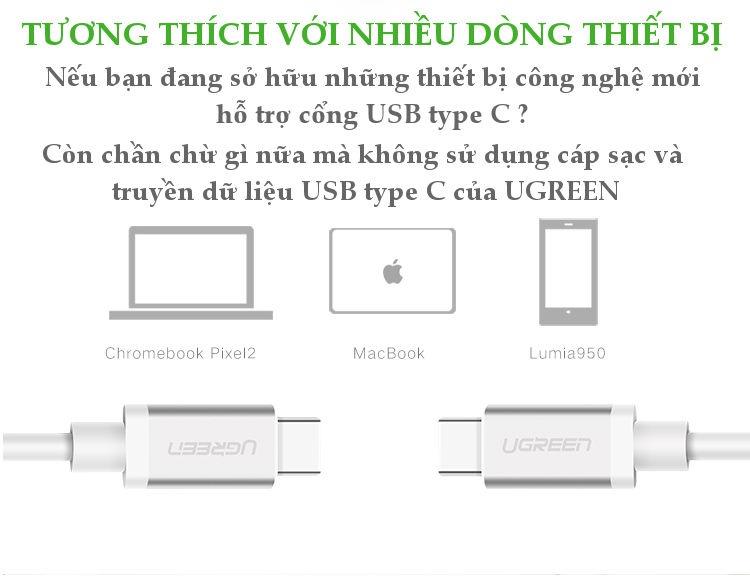 Dây cáp và truyền dữ liệu USB type C 3.1 hỗ trợ sạc nhanh PD 60W, QC3.0, 3A, dài 1.5m UGREEN US162