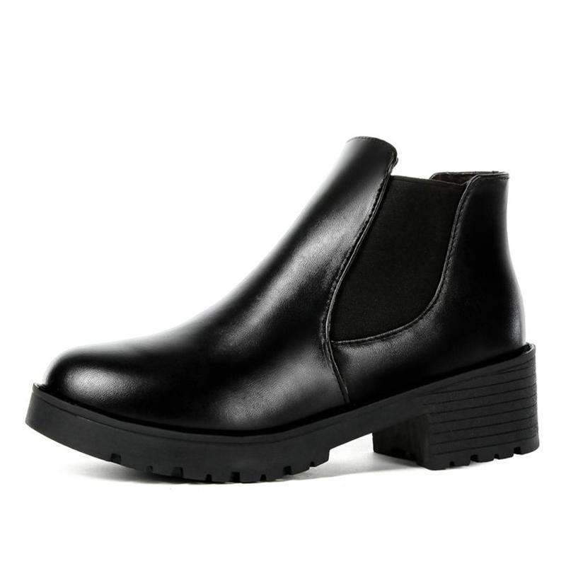 Giày boot nữ chun cổ thấp 2018 đế 5cm, boot da đế 5p, bốt cổ thấp -GCG07+ Tặng thẻ tích điểm trangstore