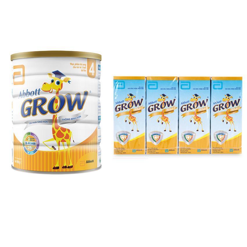 Bộ 1 Sữa bột Abbott Grow 4 G-Power Hương Vani 900g + Tặng 1 lốc sữa nước Grow 180ml