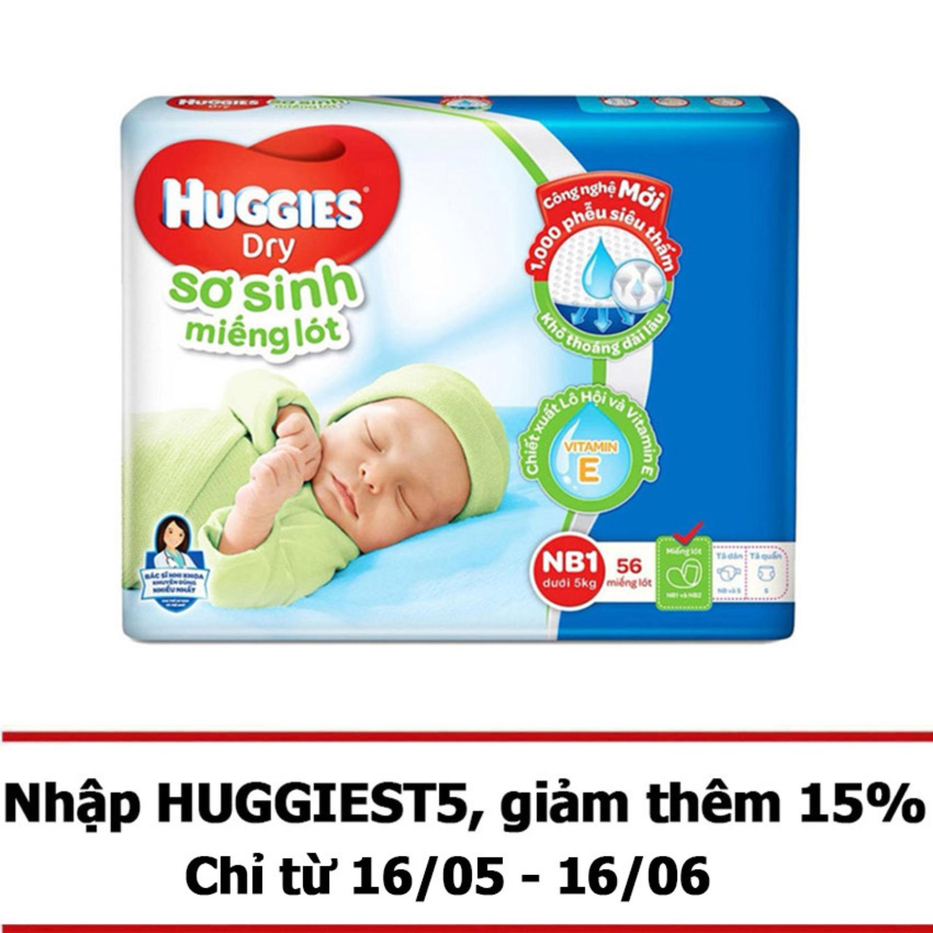 Miếng lót sơ sinh Huggies Newborn 1 (0-5kg) - N56 (Gói 56 miếng)