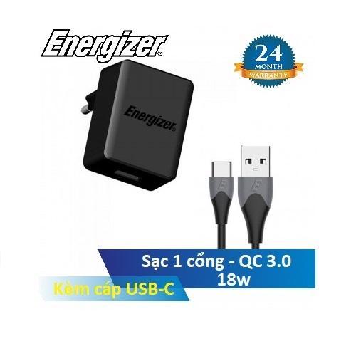 Bộ sạc Energizer AC1Q3EUUC23 - QC 3.0, Kèm cáp USB-C