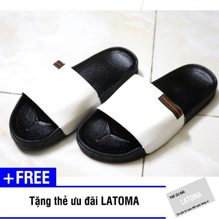 Dép quai ngang thời trang nam Latoma TA0112 (Trắng)+ Tặng kèm thẻ ưu đãi Latoma