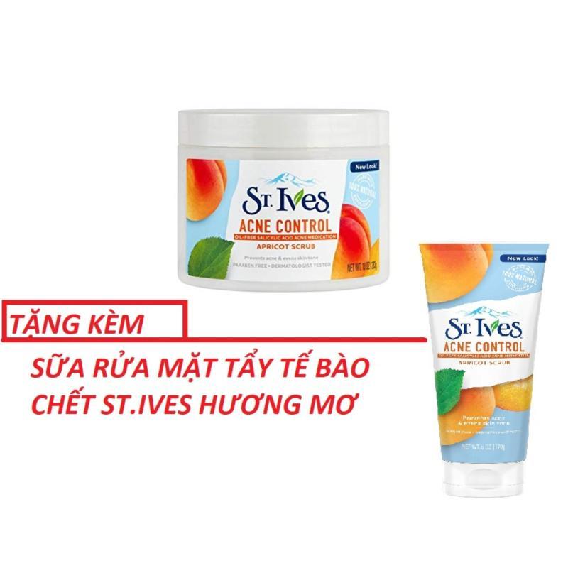 Kem tẩy tế bào da St.ives hương mơ  Blemish Control + Tặng SRM ST.ives Hương Mơ- dành cho da mụn 283g nhập khẩu