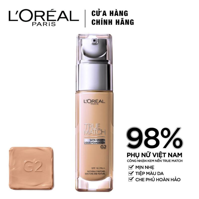 Kem nền mịn da LOreal Paris True match Liquid Foundation - G2 Gold Porcelain 30ml nhập khẩu