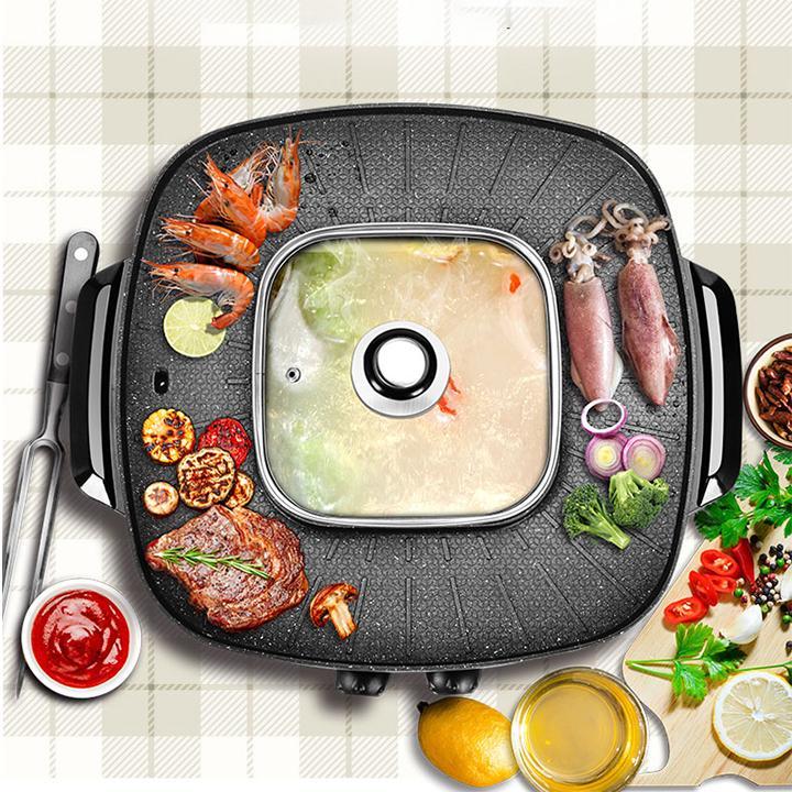 Hình ảnh Noi lau nuong da nang,nồi lẩu nướng Happycall có 5 nấc điều chỉnh nhiệt độ, tự ngắt khi đạt nhiệt độ đặt