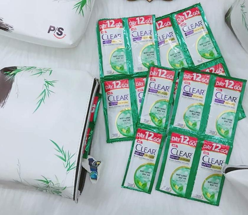 Sét 30 gói dầu gội clear bạc hà tặng 2 túi nhập khẩu