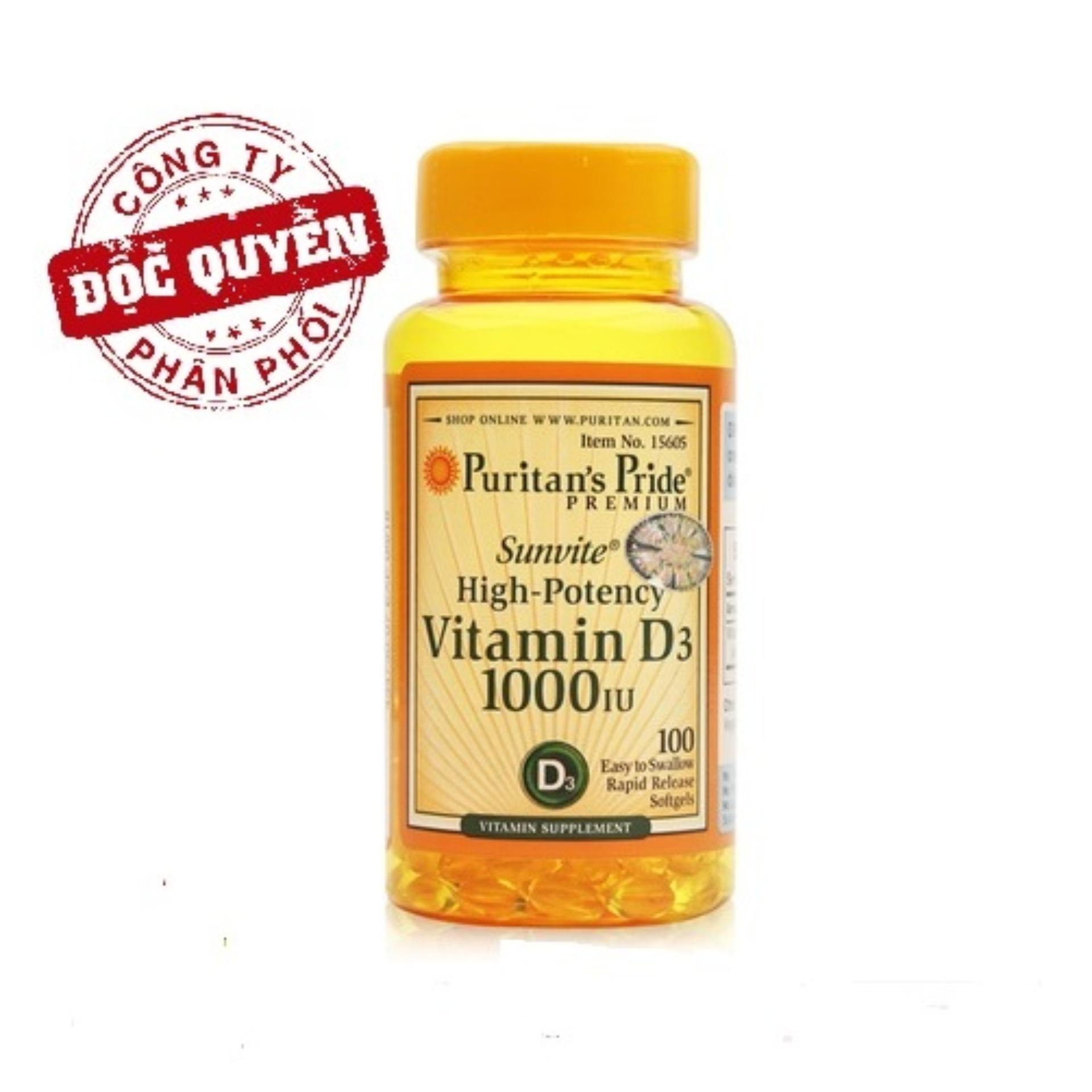 Clearan Stock - Big Sales: Viên uống bổ sung Vitamin D tăng cường hệ miễn dịch, bổ phổi, phòng chống còi xương Puritan's Pride Sunvite High-Potency Vitamin D3 1000IU 100 viên
