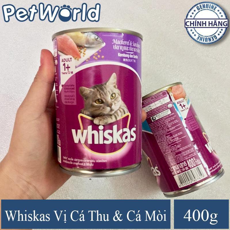 Thức Ăn Dành Cho Mèo Lớn/Mèo Trưởng Thành Whiskas - Vị Cá Thu Và Cá Mòi - Dạng Lon 400g