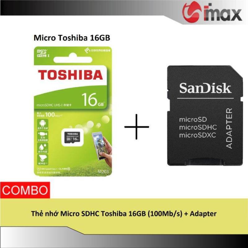 Thẻ nhớ Micro SDHC Toshiba 16GB (100Mb/s) + Adapter