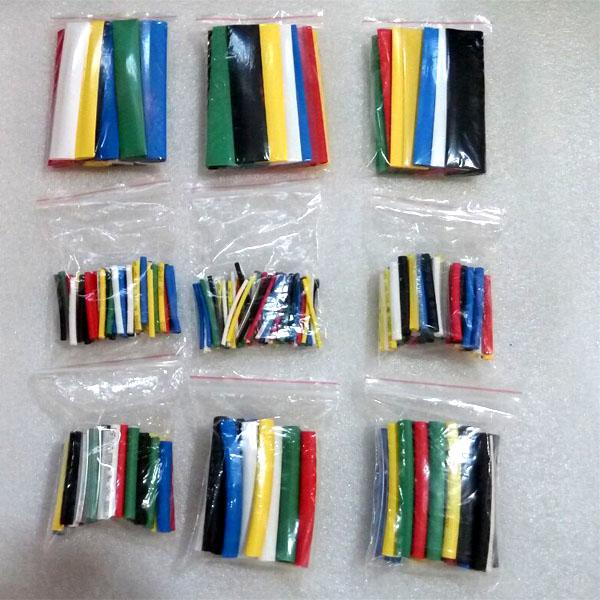 385pcs/set high quality heat shrinkable tube 2:1 heat shrink tubing heat Tube Sleeve Wrap Cable Wire 7 Color 9 Size free ship