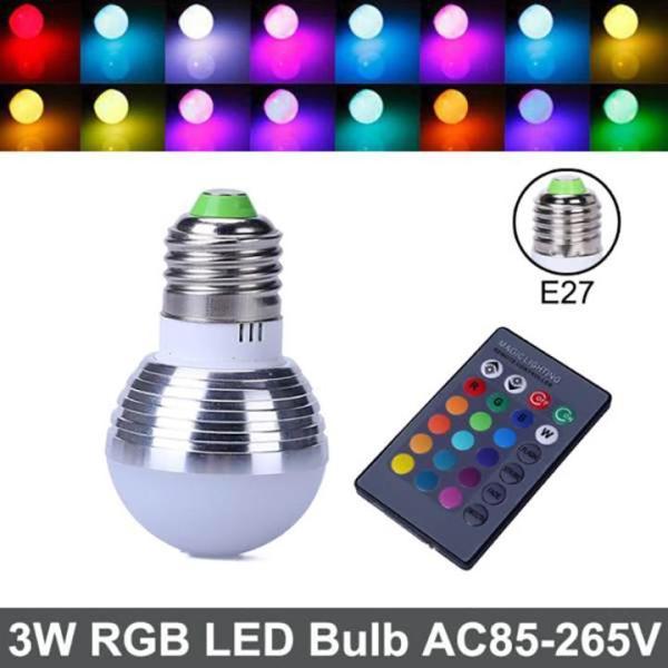 BÓNG LED TRÒN ĐỔI MÀU ĐUI E27 RGB ĐIỀU KHIỂN TỪ XA