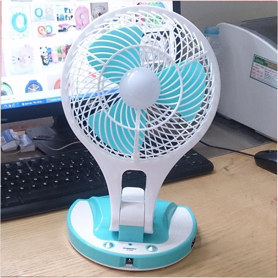 Quạt sạc tích điện Mini Fan HT - 5580 loại lớn(lồng trắng cánh xanh)