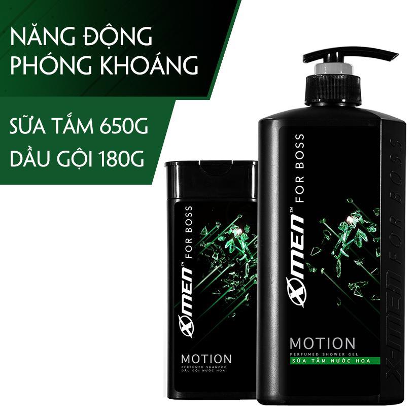 Combo Sữa tắm nước hoa X-Men for Boss Motion 650g + Dầu gội nước hoa X-Men for Boss Motion 180g nhập khẩu