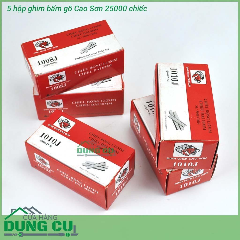 5 hộp Ghim bấm gỗ Cao Sơn 25000 chiếc