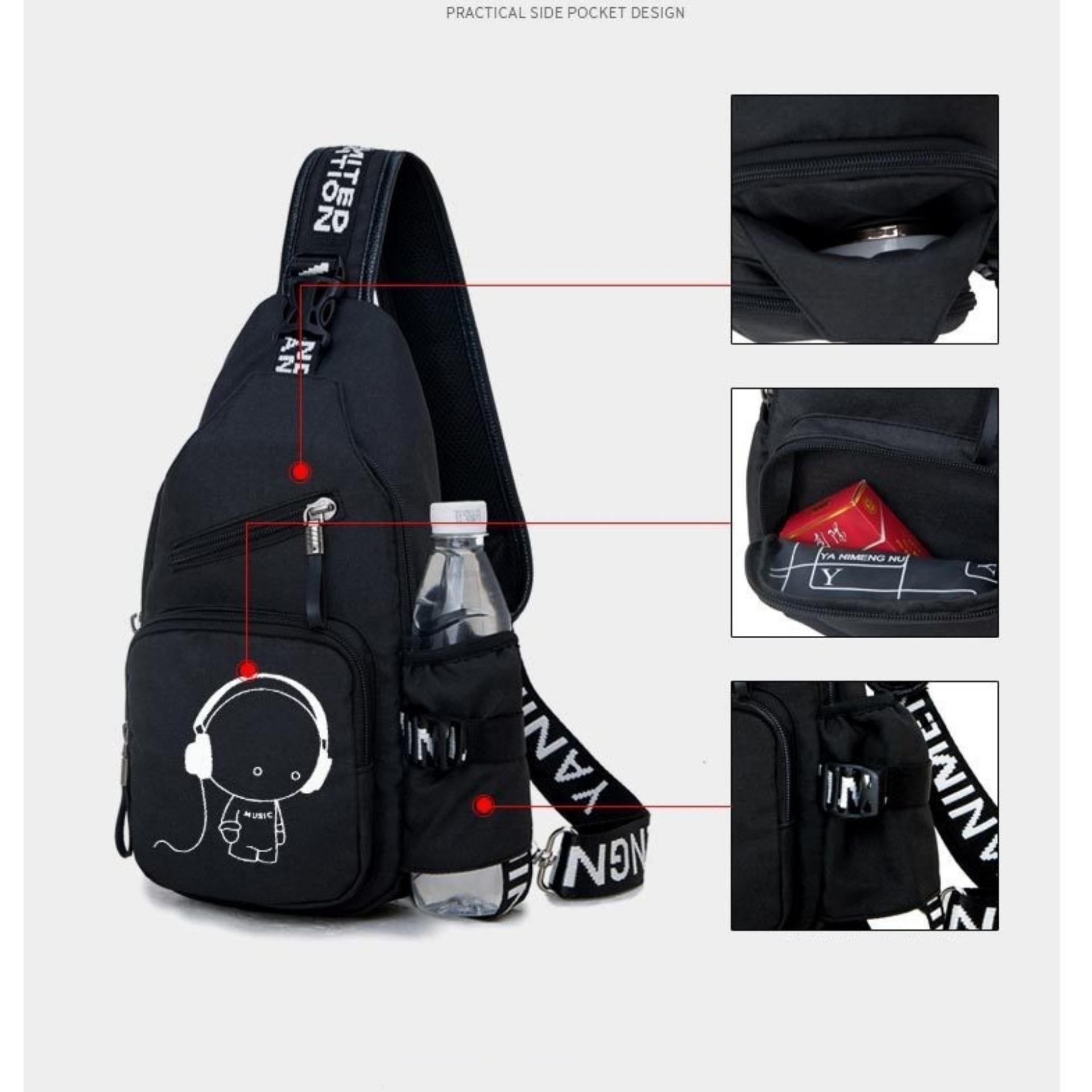 Túi đeo Chéo 1 QUAI Thể Thao Du Lịch MUSIC3 (Đen) Giá Rẻ Bất Ngờ