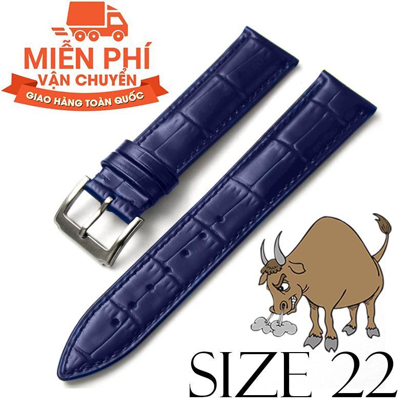 Hình ảnh Dây đồng hồ da bò cao cấp BO3 SIZE 22mm (xanh navy)