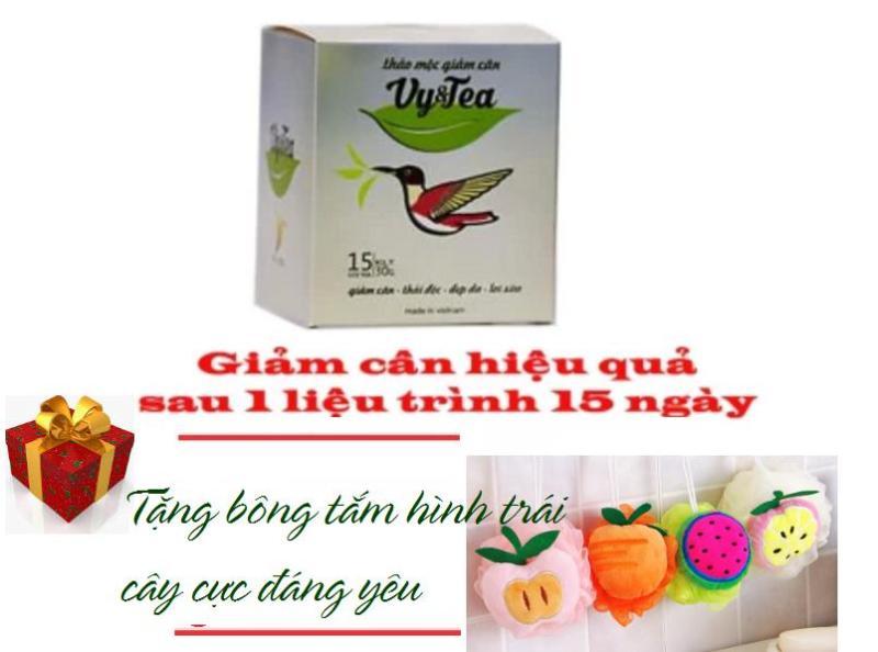 ĐÃ KIỂM ĐỊNH 100% CHÍNH HÃNG - Trà thảo mộc giảm cân Vy & Tea - 15 gói - Tặng 1 Bông Tắm Hình Trái Cây cao cấp