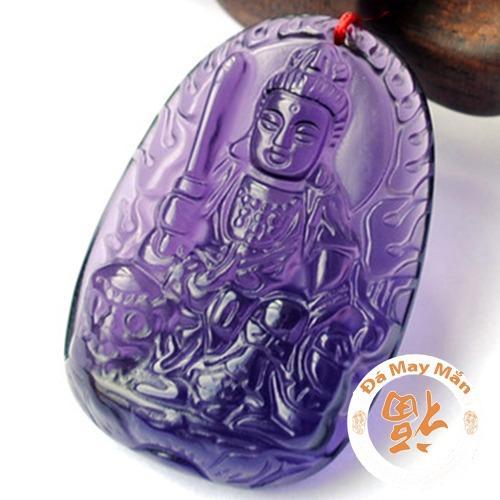 Mặt Dây Chuyền Phật Bản Mệnh Văn Thù Bồ Tát Lưu Ly Tím Lớn