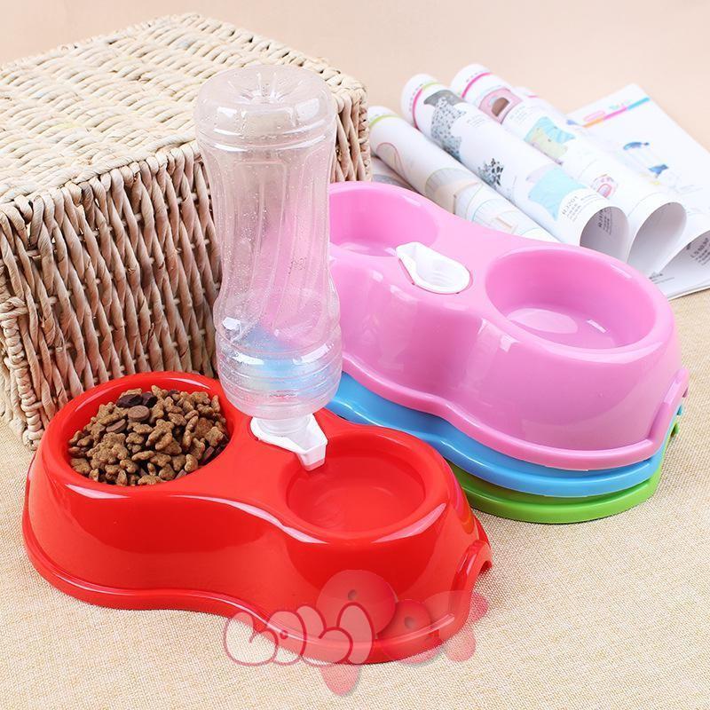 HCM-Bát nhựa đôi - Ăn, Uống tự động cấp nước ( 355) bát ăn chó, bát uống mèo, bát ăn uống thứ cưng-HP10793TC
