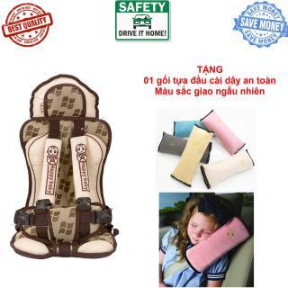 Ghế ngồi cho bé trên ô tô (Nâu) + TẶNG 01 gối tựa đầu cài dây an toàn thumbnail