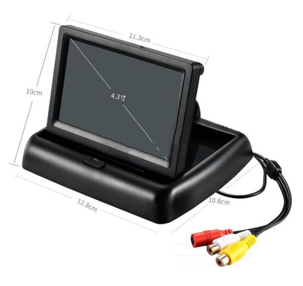 Màn hình taplo 4.3 inch - loại gập nhỏ gọn, chuyên hiển thị camera tiến lùi, điện áp 12V-24V có 2 cổng AV, màn hình màu dạng TFT-LCD cho hình ảnh camera sắc nét
