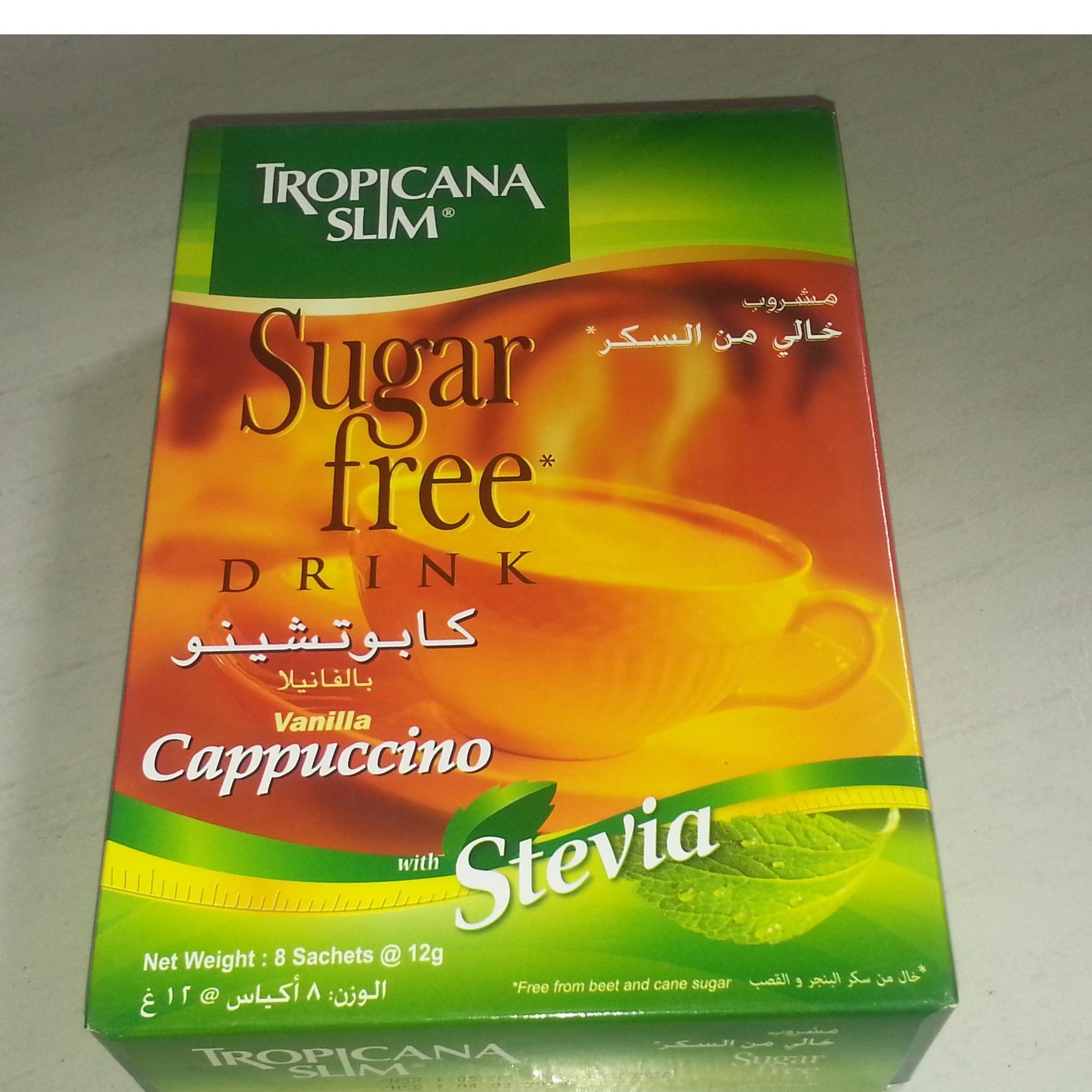 Cà phê ăn kiêng Tropicana Slim Cappuccino với chiết xuất cỏ ngọt