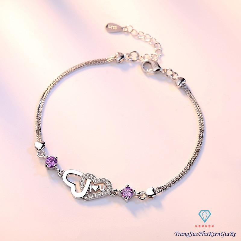 Vòng tay nữ thời trang 2 trái tim xen chữ Love, xi bạc ý 925 giá rẻ