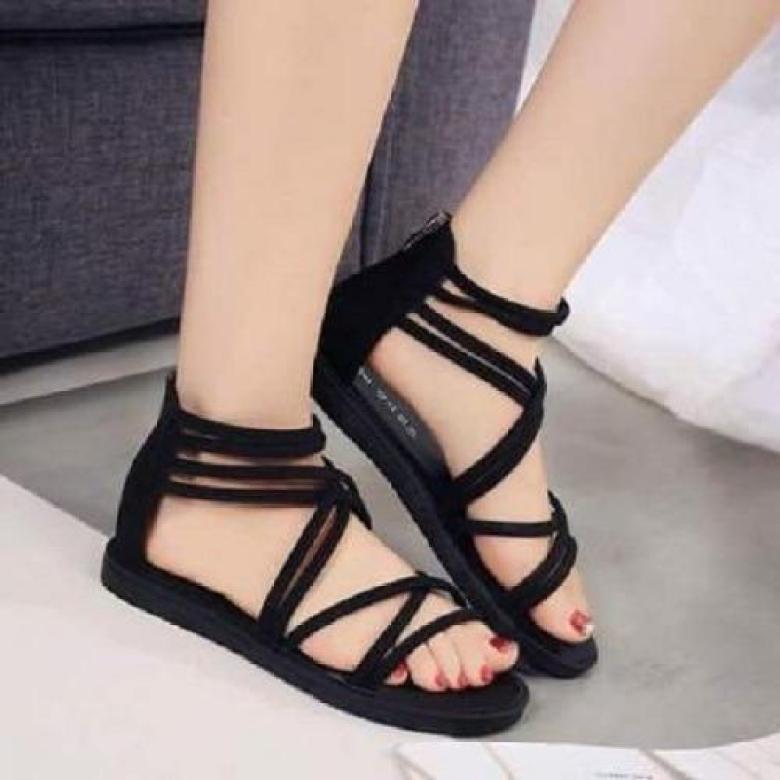 Giày sandal cột dây nhung-đen giá rẻ