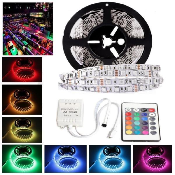 Bộ đèn LED dây dán 5050-5m phủ keo silicon đổi 7 màu RGB (RGB)