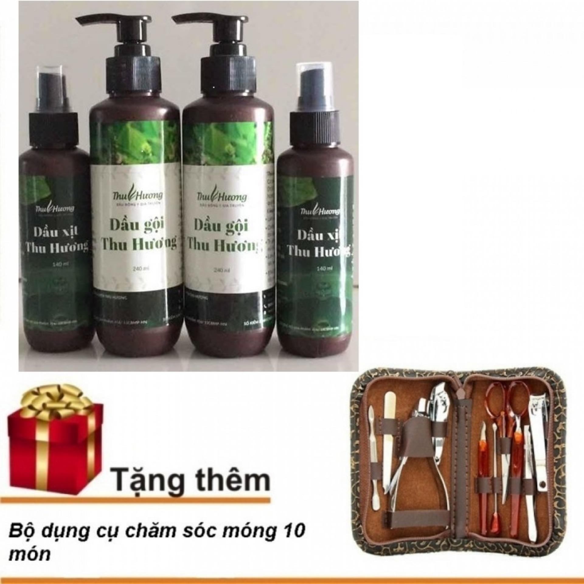 Bộ 2 Dầu gội và 2 dầu xịt đặc trị rụng tóc và bạc tóc Thu Hương + Tặng bộ chăm sóc móng 10 món